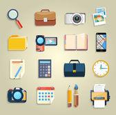 Affari, ufficio e commercializzazione articoli icone — Vettoriale Stock