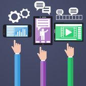 E-Business concept, computers, smartphone — Stock Vector