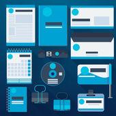 Blue corporate identity template — Stock Vector