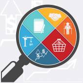 Magnifying glass and shopping basket — Stockvektor