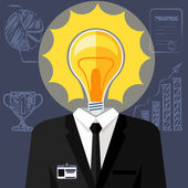 Bulb headed man. Business man in suit — Stock Vector