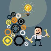 Businessman with ideas. Happy funny character — Stockvektor