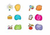 Set of drawing finance stickers icon — Stock Vector