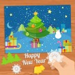 New Year greeting card with christmas tree snowman — Stock Vector #58974545