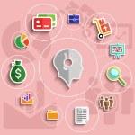 Business management flat design icons set — Stock Vector #58974627