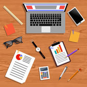 Concept of business team workplace — Cтоковый вектор