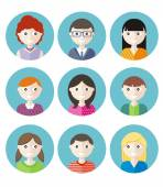 Color avatars teenagers — Stock Vector