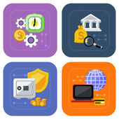 Banking and finance investment icon set — Stock Vector
