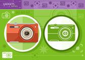 Digital camera in frame on green background — Stock Vector