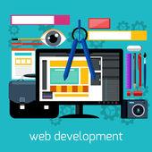 Web design and development flat concept — Stock Vector