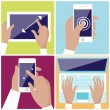 Human hands holding digital devices icons set — Stock Vector #59430519