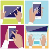 Human hands holding digital devices icons set — Stock Vector