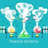Alchemy generating money, ideas in laboratory — Stockvektor