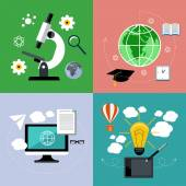 E learning and online education icons set — Stock Vector
