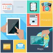 Computer tablet services, web application concept — Stock Vector