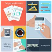 Corporate finance, web banking, management concept — Stock Vector