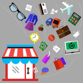Illustration of shoping and different goods — Stockvector
