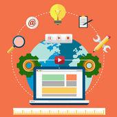 Conceito de design e desenvolvimento Web — Vetor de Stock