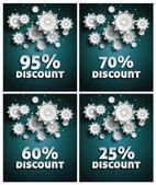 Snowflakes over night dark sky — Stock Vector