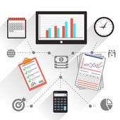 職場の事務・業務の作業要素セット — ストックベクタ