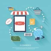 Internet-shopping-konzept-smartphone mit markise — Stockvektor
