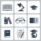 Black education icons set on white — Stock Vector
