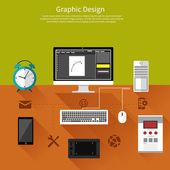 Graphic design and designer tools concept — Stock Vector
