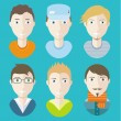 Man avatars characters on blue background — Vector de stock  #60895225