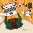 Business woman working with laptop and documents — Vecteur #60895257