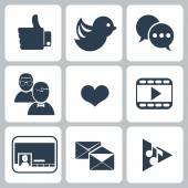 Set of social network icons — Stock Vector