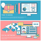 Social network and time to work — Stock Vector