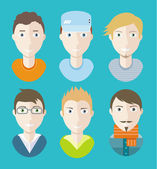 Man avatars characters on blue background — Stock Vector
