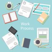 офисный стол с личными аксессуарами — Cтоковый вектор