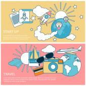 Start up rocket and international travel — Stock Vector