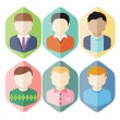 Man avatars characters on blue background — Stok Vektör #60933155