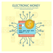 Electronic money concept — Stock Vector
