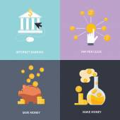 Internet banking, make money, save money — Stock Vector