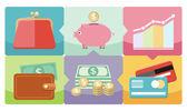 Dollar, purse, coin box pig icons — Stock Vector