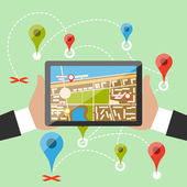 Manos sostienen smartphone con ciudad imaginaria — Vector de stock