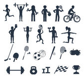 Exercises with weights and warm-up icons — Wektor stockowy