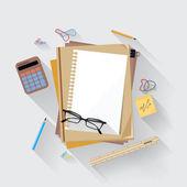 Calculator, ruler and paper on an office desk — Vecteur
