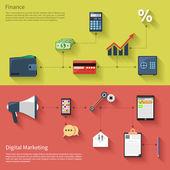 数字营销与扩音器和金融 — 图库矢量图片