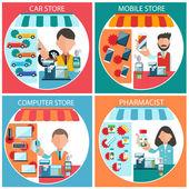 Auto, mobiele, apotheker en computer winkel — Stockvector