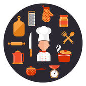 Cooking serve meals and food preparation elements — Vector de stock