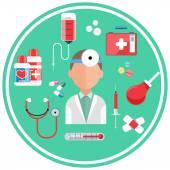 Concepto de hospital con iconos de artículo — Vector de stock