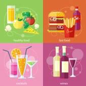 Cocktails, gezondheid van voedsel, fastfood en wijnstokken — Stockvector