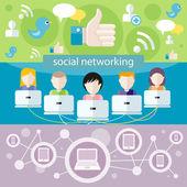 ソーシャル メディアのネットワーク接続の概念 — ストックベクタ