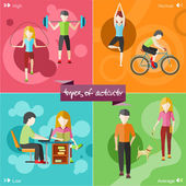 Healthy lifestyles daily routine — Stock Vector