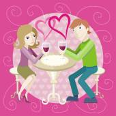 Date at restaurant — Stock Vector