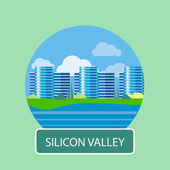 Office building in Silicon Valley — Stock Vector